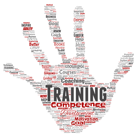 Vector conceptual training, coaching or learning, study hand print stamp word cloud isolated on background. Collage of mentoring, development, motivation skills, career, potential goals or competence