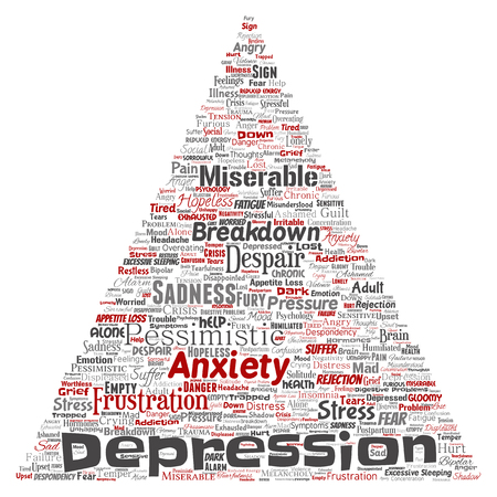 Conceptual vector depression or mental emotional disorder problem triangle arrow word cloud isolated background. Collage of anxiety sadness, negative sad, despair, unhappy, frustration symptom. Ilustração