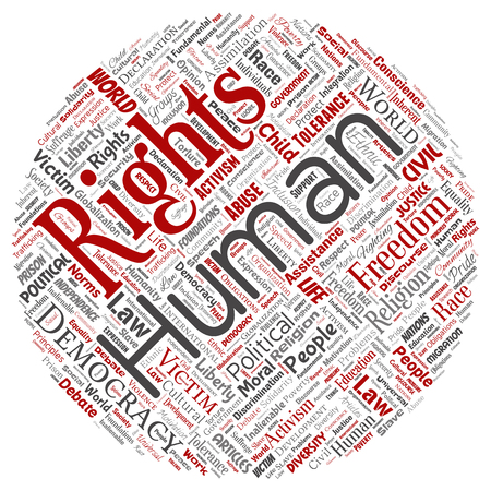 Vector conceptual human rights political freedom, democracy round circle red  word cloud isolated background. Collage of humanity tolerance, law principles, people justice or discrimination concept