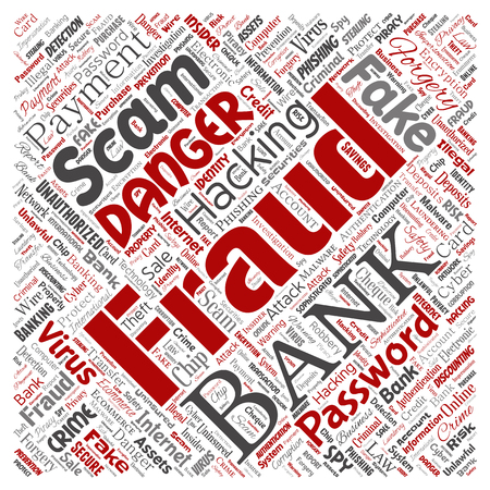 Vector conceptual bank fraud payment scam danger square red word cloud isolated background. Collage of password hacking, virus fake authentication, illegal transaction or identity theft concept