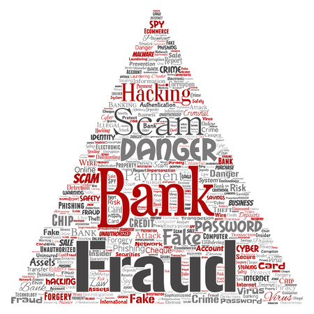 Vector conceptual bank fraud payment scam danger triangle arrow word cloud isolated background. Collage of password hacking, virus fake authentication, illegal transaction or identity theft concept Illustration