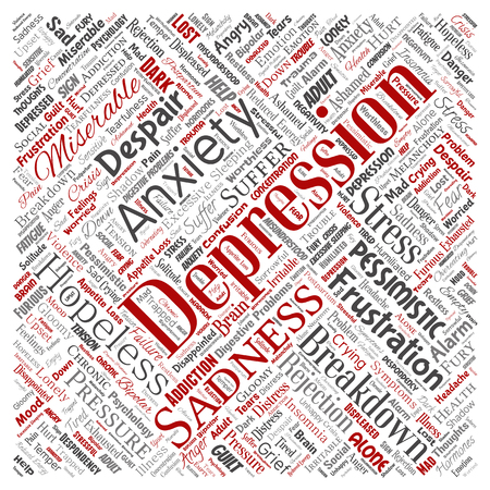 Vector conceptual depression or mental emotional disorder problem square red word cloud isolated background. Collage of anxiety sadness, negative sad, despair, unhappy, frustration symptom