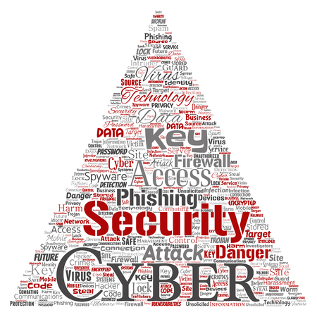 Vector conceptual cyber security online access technology triangle arrow word cloud isolated background. Collage of phishing, key virus, data attack, crime, firewall password, harm, spam protection