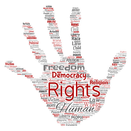 Vector conceptual human rights political freedom, democracy hand print stamp word cloud isolated background. Ilustrace