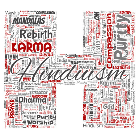 Conceptual hinduism, shiva, rama, yoga letter font H red word cloud isolated background. Collage of mandalas, samsara, celebration, tradition, peace, compassion, rebirth, karma, dharma concept Stock Photo