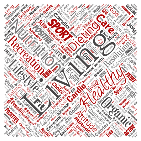 Conceptual healthy living positive nutrition sport square red word cloud isolated background. Collage of happiness care, organic, recreation workout, beauty, vital healthcare spa concept Stockfoto