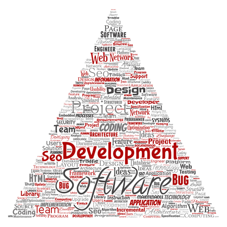 Vector conceptual software development project coding technology triangle arrow  word cloud isolated background. Collage of application web design, seo ideas, implementation, testing upgrade concept Illustration