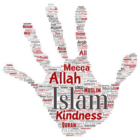Vector conceptual Islam, prophet, mosque hand print stamp word cloud isolated background. Illustration
