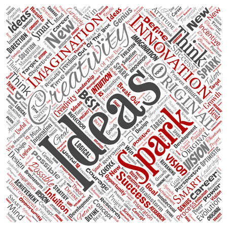 Vector conceptual creative idea brainstorming human square red word cloud isolated background.