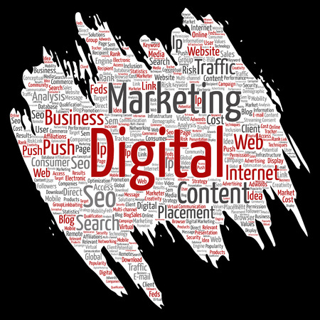 A Vector concept or conceptual digital marketing seo traffic paint brush paper word cloud isolated background.