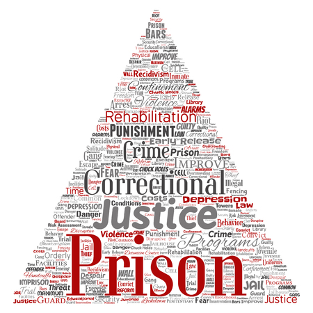 A Vector conceptual prison, justice, crime triangle arrow red word cloud isolated background. Illustration