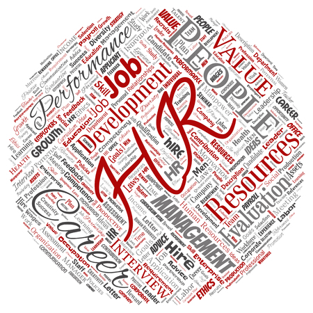 Concept conceptual hr or human resources career management round circle red word cloud isolated background. Collage of workplace, development, hiring success, competence goal, corporate or job 스톡 콘텐츠