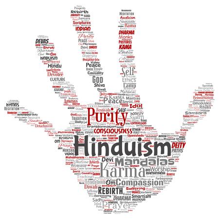 Conceptual hinduism, shiva, rama, yoga hand print stamp word cloud isolated background. Collage of mandalas, samsara, celebration, tradition, peace, compassion, rebirth, karma, dharma concept