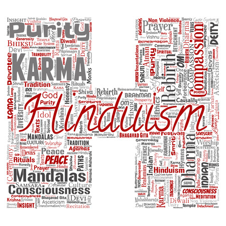 Vector conceptual hinduism, shiva, rama, yoga letter font H red word cloud isolated background. Collage of mandalas, samsara, celebration, tradition, peace, compassion, rebirth, karma and dharma concept
