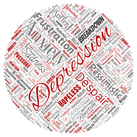 Conceptual depression or mental emotional disorder problem round circle red word cloud isolated background. Collage of anxiety sadness, negative sad, despair, unhappy, frustration symptom
