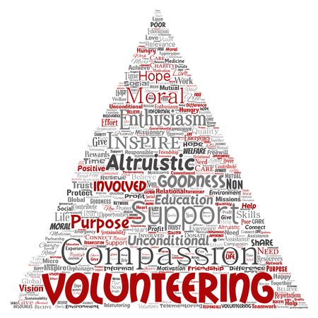 Conceptual volunteering, charity, humanitarian triangle arrow red word cloud isolated background. Collage of selfless, support, philanthropy, nonprofit,  goodness, togetherness, giving concept