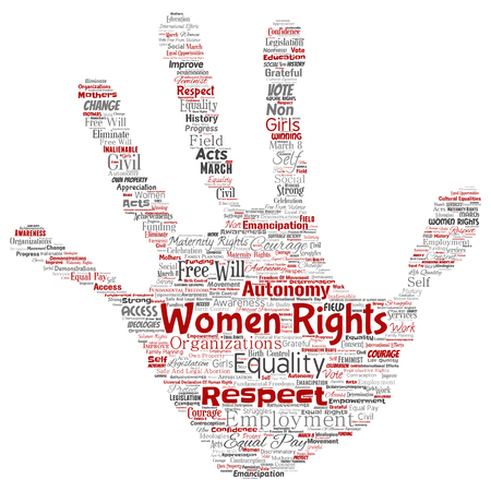 Vector conceptual women rights, equality, free-will hand print stamp word cloud isolated background. Collage of feminism, empowerment, integrity, opportunities, awareness, courage, education, respect  일러스트