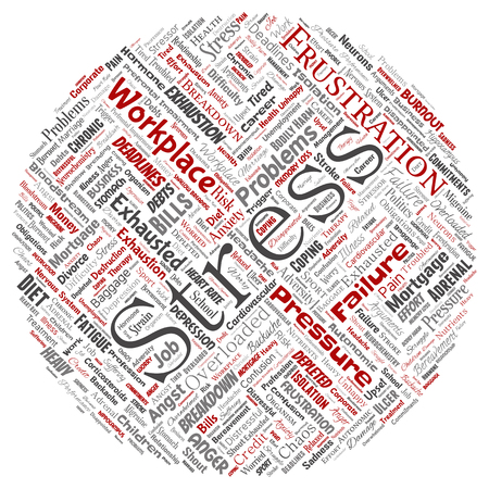Conceptual mental stress at workplace human round circle red word cloud isolated on white background. Illustration
