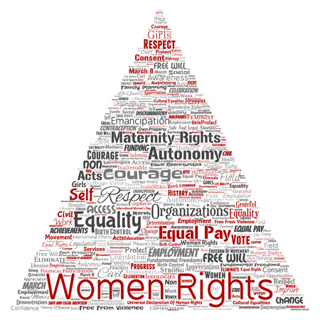 Conceptual women rights, equality, free-will triangle arrow red word cloud isolated background. Collage of feminism, empowerment, integrity, opportunities, awareness, courage, education, respect concept Stock Photo