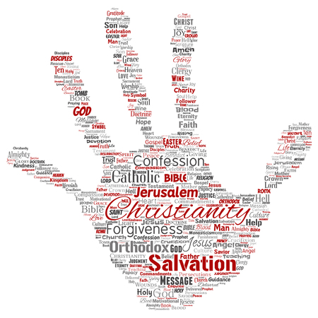 Conceptual christianity, jesus, bible, testament hand print stamp  word cloud isolated background. Collage of teachings, salvation resurrection, heaven, confession, forgiveness, love concept Stock Photo