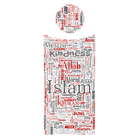 Vector conceptual islam, prophet, mosque letter font I red word cloud isolated background. Collage of muslim, ramadam, quran, pilgrimage, allah, duties, art, calligraphy, oriental, tradition concept Illustration