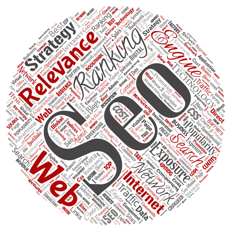 Conceptual search results engine optimization top rank seo round circle red online internet word cloud text isolated on background. Marketing strategy web page content relevance network concept