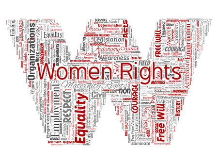 Conceptual women rights, equality, free-will letter font W red word cloud isolated background. Collage of feminism, empowerment, integrity, opportunities, awareness, courage, education, respect concept