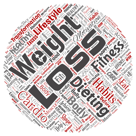Vector conceptual weight loss healthy diet transformation round circle red word cloud isolated background. Collage of fitness motivation lifestyle, before and after workout slim body beauty concept Illustration