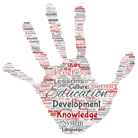 Vector conceptual education, knowledge, information hand print stamp word cloud isolated background. Collage of learning, infographic, training, teaching, system, progress, online, culture concept