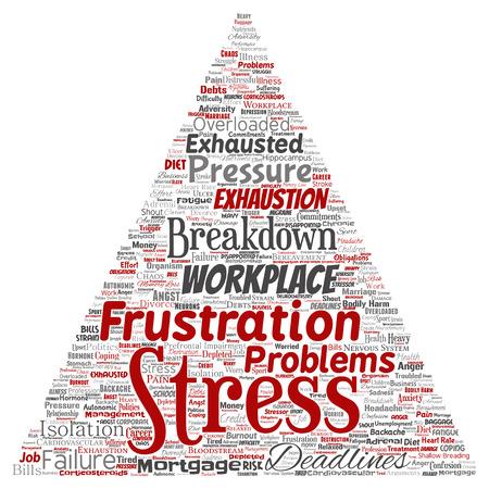Vector conceptual estrés mental en el lugar de trabajo o presión laboral triángulo humano flecha palabra nube fondo aislado. Collage de salud, trabajo, problema de depresión, agotamiento, avería, riesgo de plazos