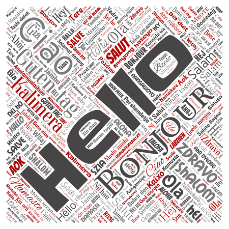 Vector concept or conceptual square red hello or greeting international tourism word cloud in different languages or multilingual. Collage of world, foreign, worldwide travel translate, vacation