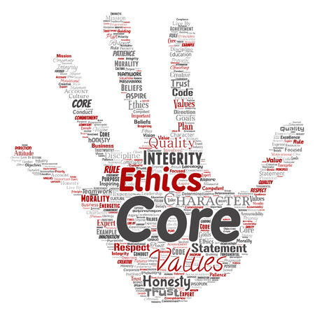 Vector conceptual core values integrity ethics hand print stamp concept word cloud isolated background. Collage of honesty quality trust, statement, character, perseverance, respect and trustworthy