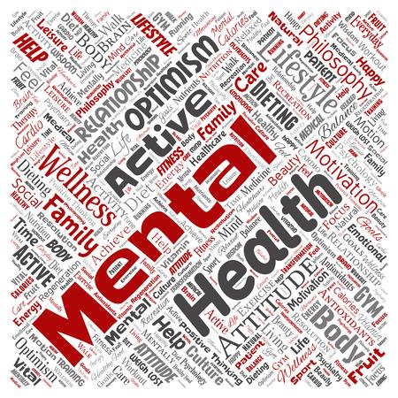 Vector conceptuele geestelijke gezondheid of positief denken vierkante rode woord wolk geïsoleerde achtergrond. Collage van optimisme, psychologie, geestgezondheidszorg, denken, houdingsbalans of motivatietekst