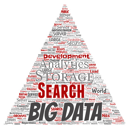 Vector conceptual big data large size storage systems triangle arrow word cloud isolated background. Collage of search analytics world information, nas development, future internet mobility concept