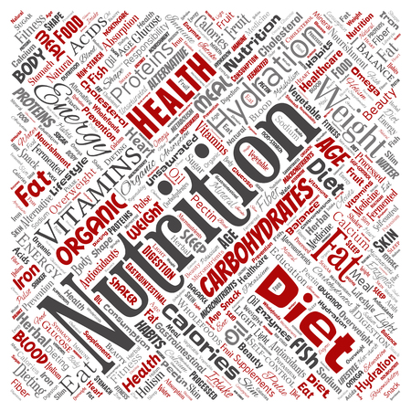 Vector conceptual nutrition health diet square red word cloud isolated background. Collage of carbohydrates, vitamins, fat, weight, energy, antioxidants beauty mineral, protein medicine concept Ilustração