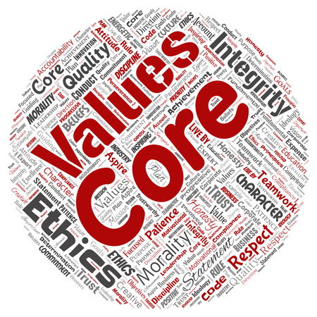 Conceptual core values integrity ethics round circle red concept word cloud isolated background. Collage of honesty quality trust, statement, character, perseverance, respect and trustworthy Archivio Fotografico