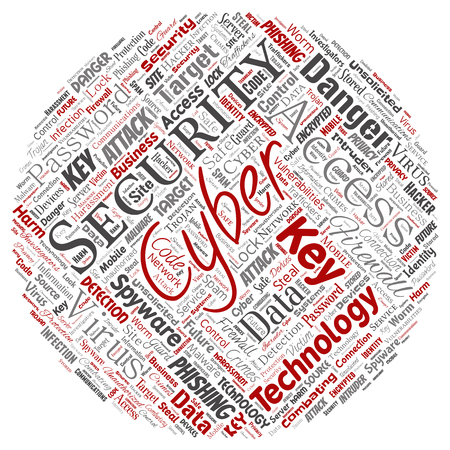 Conceptual cyber security online access technology round circle red word cloud isolated background. Collage of phishing, key virus, data attack, crime, firewall password, harm, spam protection Stock Photo