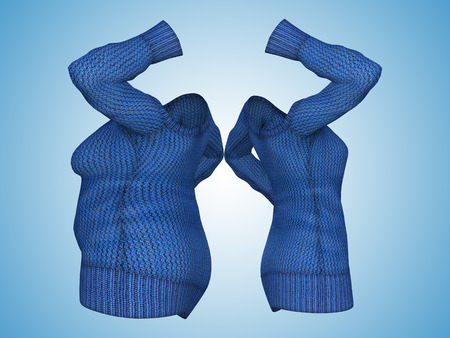 Conceptual fat overweight obese female sweater dress vs slim fit healthy body after weight loss or diet thin young woman on blue. A fitness, nutrition or fatness obesity health shape 3D illustration
