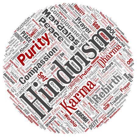 Conceptual hinduism, shiva, rama, yoga round circle red word cloud isolated background. Collage of mandalas, samsara, celebration, tradition, peace, compassion, rebirth, karma, dharma concept