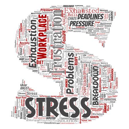 Vector el estrés mental conceptual en el lugar de trabajo o la presión laboral fuente humana letra S nube de palabras de fondo aislado. Collage de salud, trabajo, problema de depresión, agotamiento, desglose, riesgo de plazos