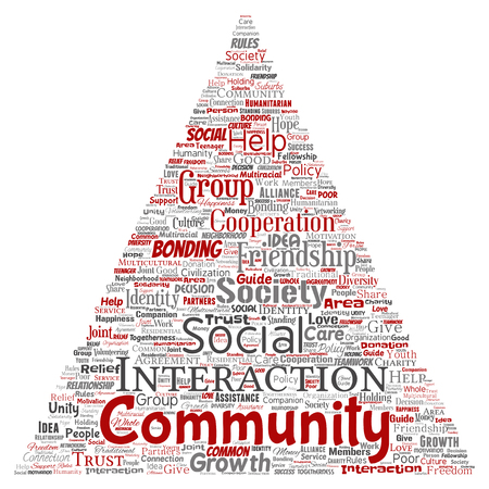 Vector conceptual community, social, connection triangle arrow red word cloud isolated background. Collage of group, teamwork, diversity, friendship, communication, inclusion, care, respect concept