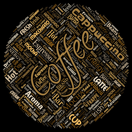 Vector conceptual creative hot morning italian coffee break cappuccino or espresso restaurant or cafeteria round circle red beverage word cloud isolated. A splash of energy or taste drink concept text Illustration