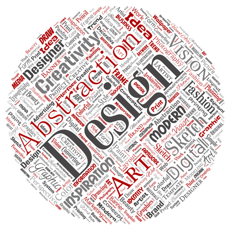 Conceptual creativity art graphic identity design visual round circle red word cloud isolated background. Collage of advertising, decorative, fashion, inspiration, vision, perspective modeling Foto de archivo - 101935229