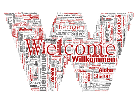 Vector conceptual abstract welcome or greeting international letter font W word cloud in different languages or multilingual. Collage of world, foreign, worldwide travel translate, vacation tourism