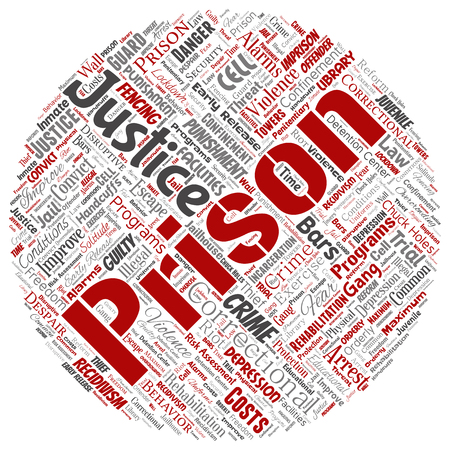 Conceptual prison, justice, crime round circle red word cloud isolated background. Collage of punishment, law, rights, social, authority, system, civil, trial, rehabilitation, freedom concept
