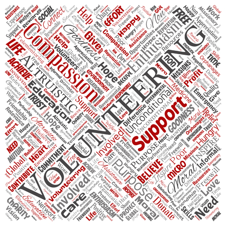 Conceptual volunteering, charity, humanitarian square red word cloud isolated background. Collage of selfless, support, philanthropy, nonprofit,  goodness, togetherness, giving concept Stock Photo