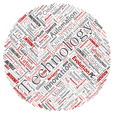 Vector conceptual digital smart technology, innovation media round circle red word cloud isolated background. Collage of information, internet, future development, research, evolution or intelligence Illustration