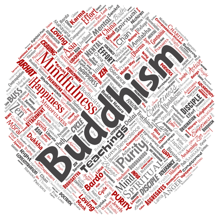 Conceptual buddhism, meditation, enlightenment, karma round circle red word cloud isolated background. Collage of mindfulness, reincarnation, nirvana, emptiness, bodhicitta, happiness concept 스톡 콘텐츠