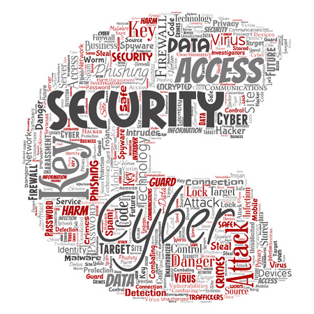 Vector conceptual cyber security online access technology letter font C word cloud isolated background. Collage of phishing, key virus, data attack, crime, firewall password, harm, spam protection Illustration