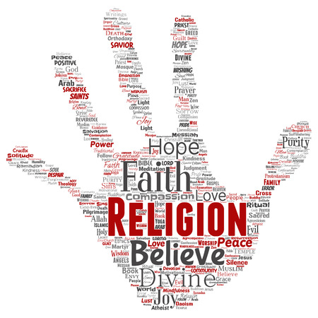 Vector conceptual religion, god, faith, spirituality hand print stamp  word cloud isolated background. Collage of worship, love, prayer, belief, gratitude, hope, divine, symbol, spirit, church concept